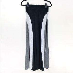 Monteau Black & Grey Panel Maxi Skirt